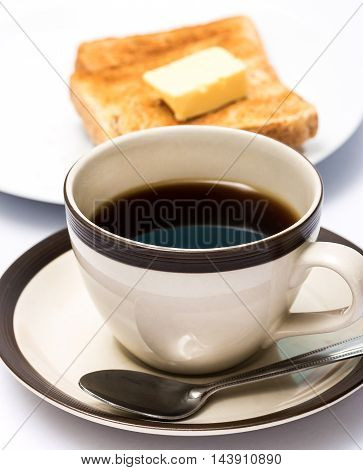 Coffee And Toast Shows Meal Time And Black