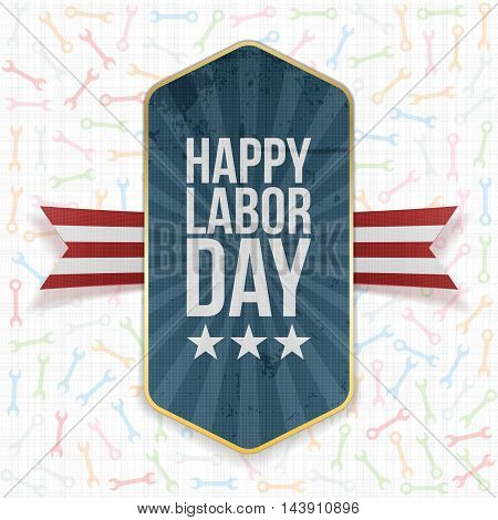 Happy Labor Day Text on Label with Ribbon