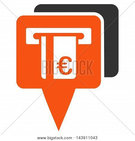 Euro Atm Pointers icon. Vector style is bicolor flat iconic symbol with rounded angles, orange and gray colors, white background.