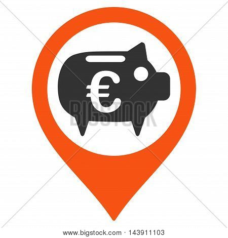 Euro Bank Pointer icon. Vector style is bicolor flat iconic symbol with rounded angles, orange and gray colors, white background.