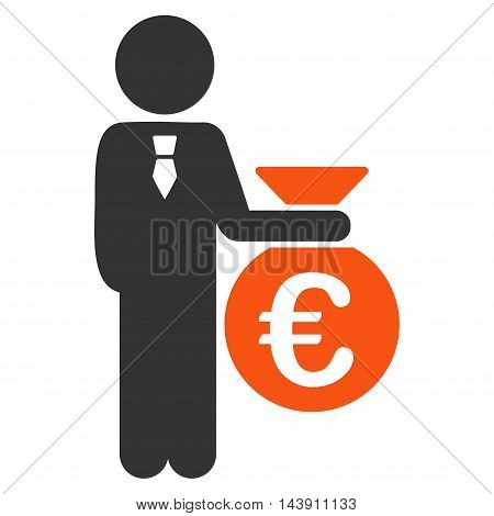 Euro Banker icon. Vector style is bicolor flat iconic symbol with rounded angles, orange and gray colors, white background.