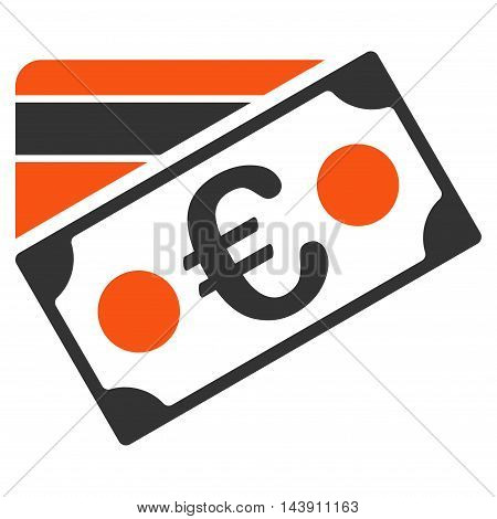 Euro Banknote and Credit Card icon. Vector style is bicolor flat iconic symbol with rounded angles, orange and gray colors, white background.