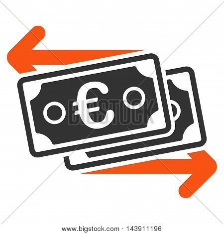 Euro Banknotes Change icon. Vector style is bicolor flat iconic symbol with rounded angles, orange and gray colors, white background.