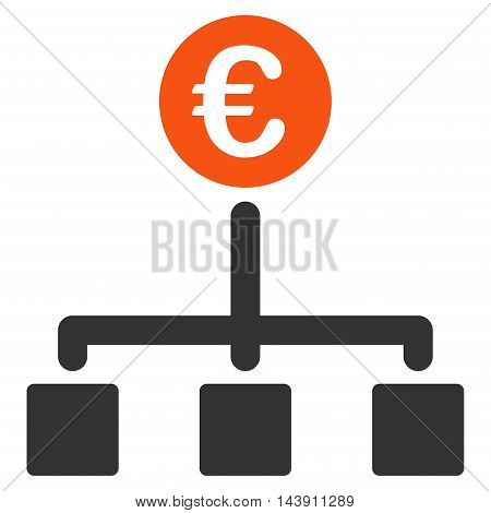 Euro Cash Flow icon. Vector style is bicolor flat iconic symbol with rounded angles, orange and gray colors, white background.