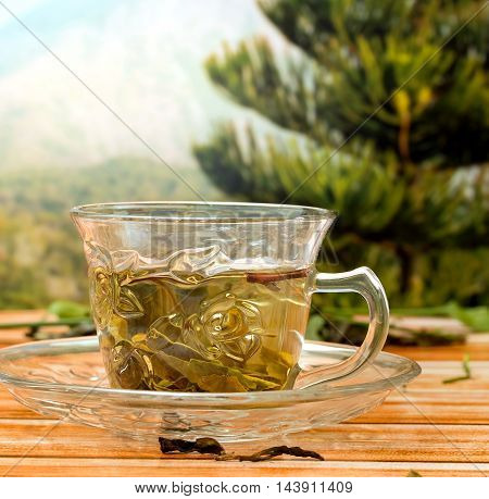 Green Chinese Tea Indicates Thirsty Beverage And Healthy
