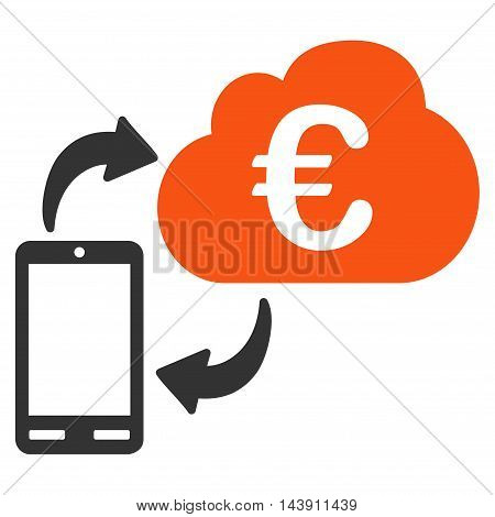Euro Cloud Banking icon. Vector style is bicolor flat iconic symbol with rounded angles, orange and gray colors, white background.