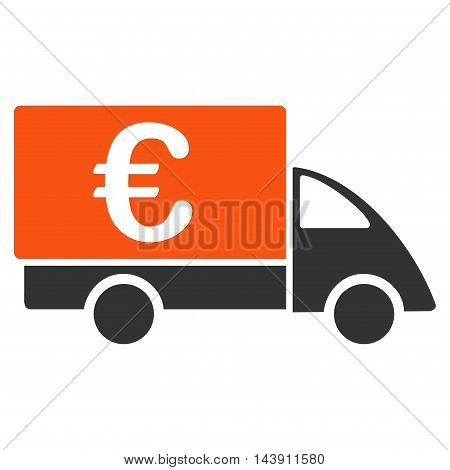 Euro Collector Car icon. Vector style is bicolor flat iconic symbol with rounded angles, orange and gray colors, white background.