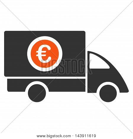 Euro Delivery icon. Vector style is bicolor flat iconic symbol with rounded angles, orange and gray colors, white background.