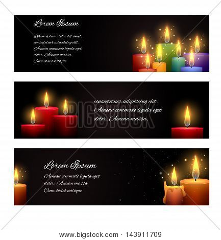 Set of horizontal banners with candles and space for text. Vector element for your creativity