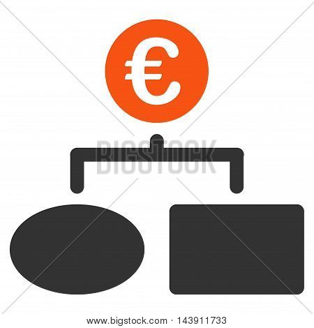 Euro Flow Chart icon. Vector style is bicolor flat iconic symbol with rounded angles, orange and gray colors, white background.