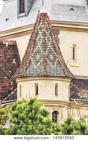Detail photo of beautiful Vajdahunyad castle in Budapest Hungary. Cultural heritage. Travel destination. Detail of architecture. Famous place. Tourism theme.