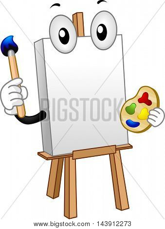 Mascot Illustration of a Blank Canvas Holding a Palette and a Paintbrush