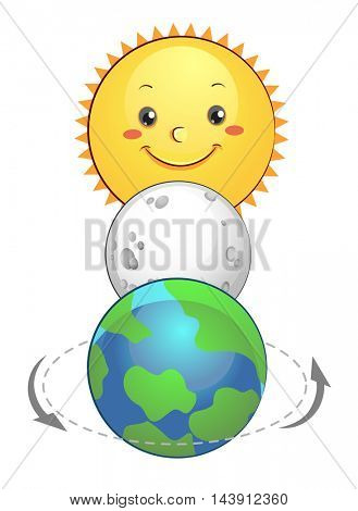 Mascot Illustration of the Moon Sandwiched Between the Sun and the Earth