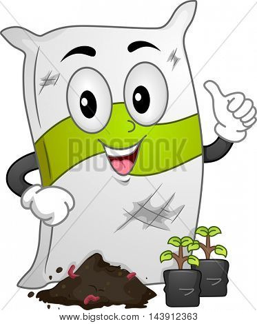 Mascot Illustration of a Fertilizer Sack Standing in Front of Seedlings