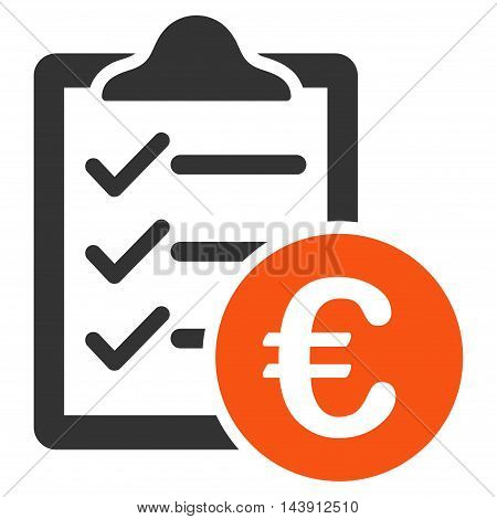 Euro Purchase Pad icon. Vector style is bicolor flat iconic symbol with rounded angles, orange and gray colors, white background.