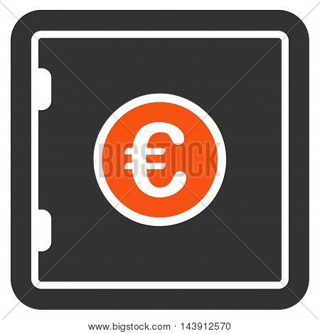 Euro Safe icon. Vector style is bicolor flat iconic symbol with rounded angles, orange and gray colors, white background.