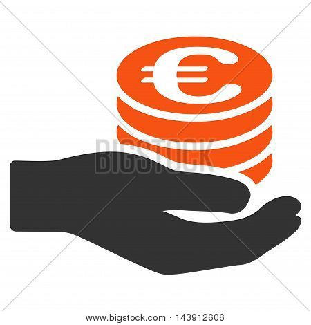 Euro Salary icon. Vector style is bicolor flat iconic symbol with rounded angles, orange and gray colors, white background.