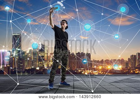 city scape and network connection concept Image