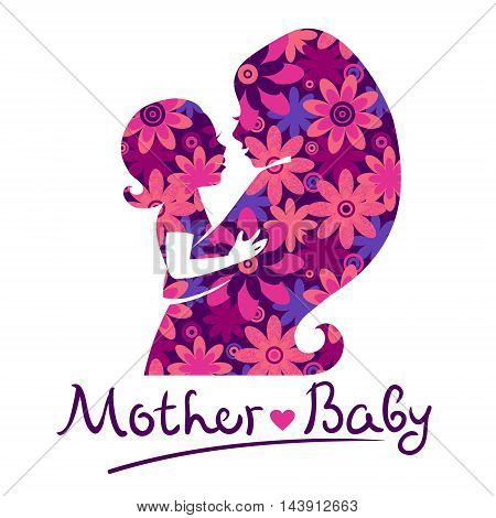 Mother and baby silhouettes logo vector illustration