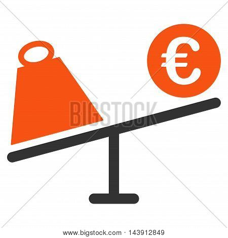 Euro Trade Swing icon. Vector style is bicolor flat iconic symbol with rounded angles, orange and gray colors, white background.
