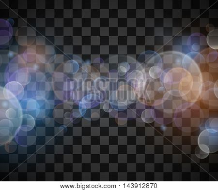 Abstract vector bokeh sunbeams effect isolated on transparent plaid background. Defocused and blurred, shimmer decoration glare illustration