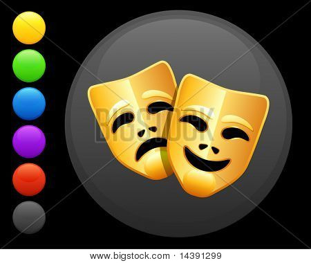 tragedy and comedy masks icon on round internet button original vector illustration 6 color versions included