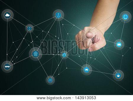 Smart wireless connection futuristic concept icon .