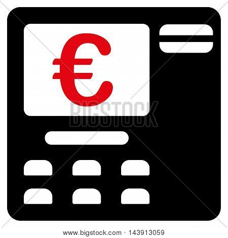 Euro Atm icon. Vector style is bicolor flat iconic symbol with rounded angles, intensive red and black colors, white background.