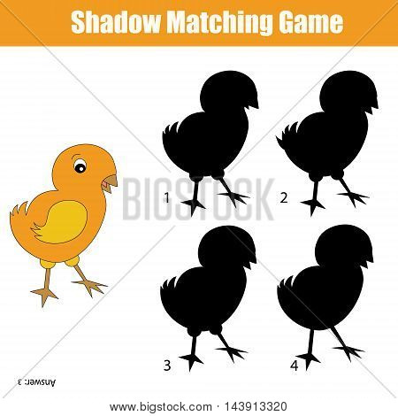 Shadow matching game for kids. Find the right shadow for chicken