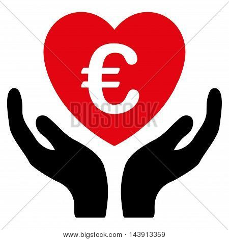 Euro Care Hands icon. Vector style is bicolor flat iconic symbol with rounded angles, intensive red and black colors, white background.