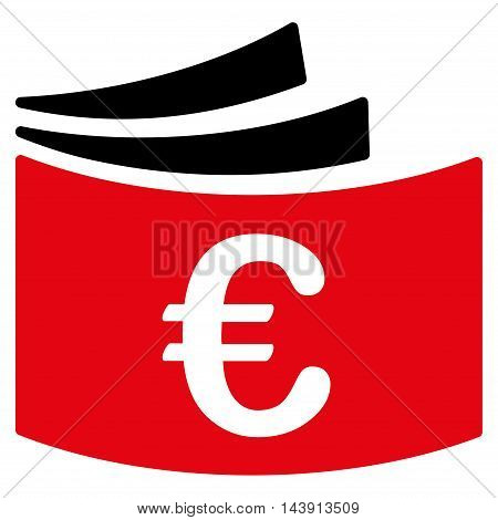 Euro Checkbook icon. Vector style is bicolor flat iconic symbol with rounded angles, intensive red and black colors, white background.