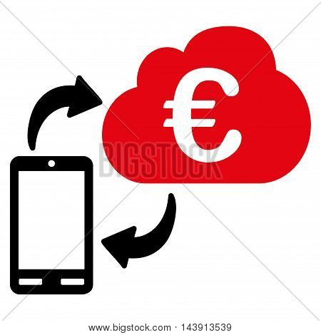 Euro Cloud Banking icon. Vector style is bicolor flat iconic symbol with rounded angles, intensive red and black colors, white background.