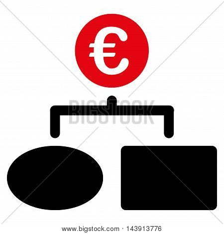 Euro Flow Chart icon. Vector style is bicolor flat iconic symbol with rounded angles, intensive red and black colors, white background.