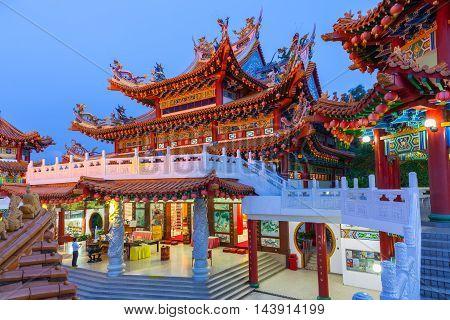 KUALA LUMPUR, MALAYSIA - AUGUST 02: Thean Hou Buddhist Temple at dusk on August 02, 2016 in Kuala Lumpur Malaysia