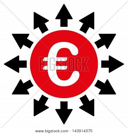 Euro Payments icon. Vector style is bicolor flat iconic symbol with rounded angles, intensive red and black colors, white background.