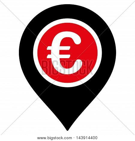 Euro Pointer icon. Vector style is bicolor flat iconic symbol with rounded angles, intensive red and black colors, white background.