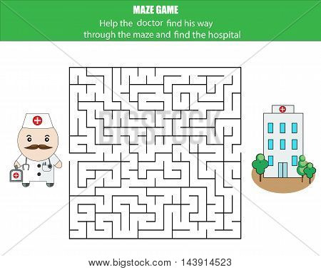 Maze game. Help the doctor find the hospital. Kids activity sheet, printable educational children game