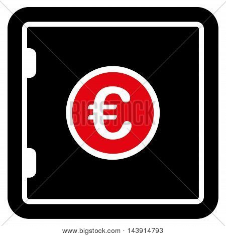 Euro Safe icon. Vector style is bicolor flat iconic symbol with rounded angles, intensive red and black colors, white background.
