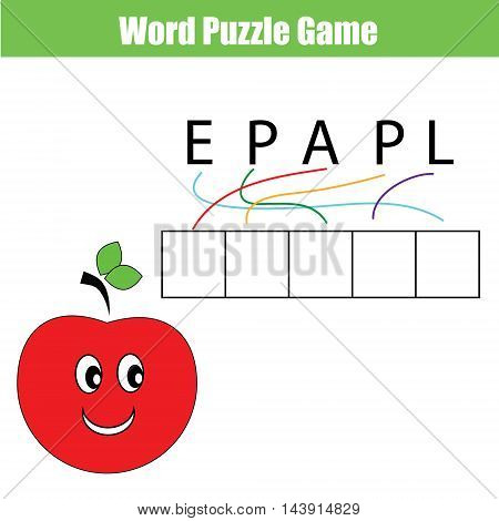 Words puzzle children educational game with maze. Place the letters in right order. Learning vocabulary