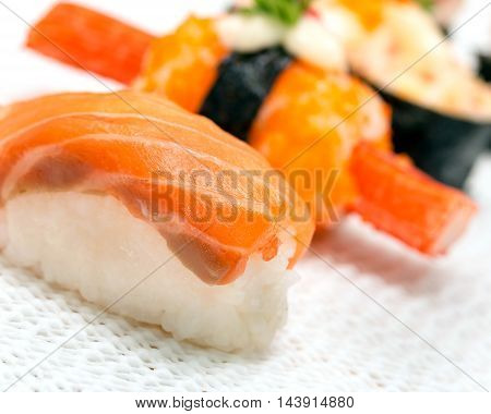 Delicious Salmon Sushi Indicates Oriental Food And Asian
