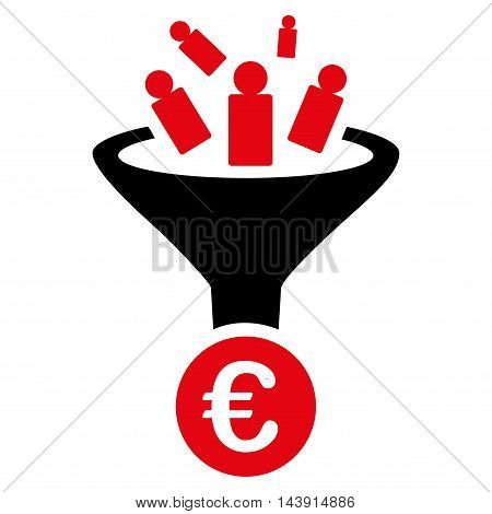 Euro Sale Conversion icon. Vector style is bicolor flat iconic symbol with rounded angles, intensive red and black colors, white background.