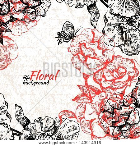 Vintage floral background. Hand drawn illustration of roses and butterflies
