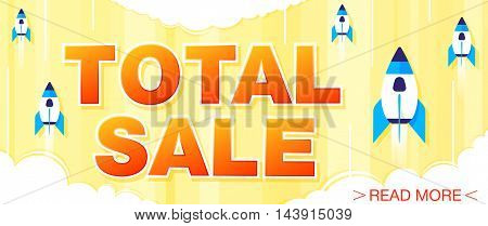 Total Sale and special offer banner on a bright yellow background. Sale background. Sale poster. Sale vector. Vector illustration.