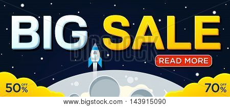 Big sale banner with moon and rocket. For Website. Sale and discounts banner. Vector illustration