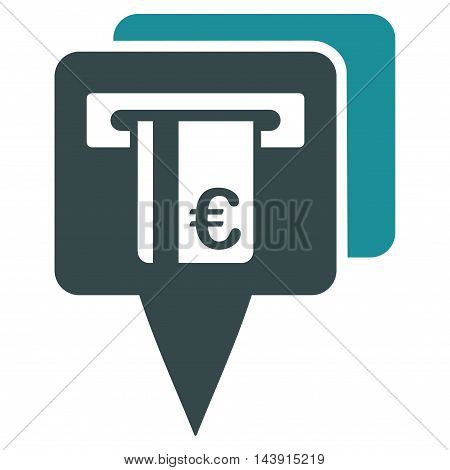Euro Atm Pointers icon. Vector style is bicolor flat iconic symbol with rounded angles, soft blue colors, white background.