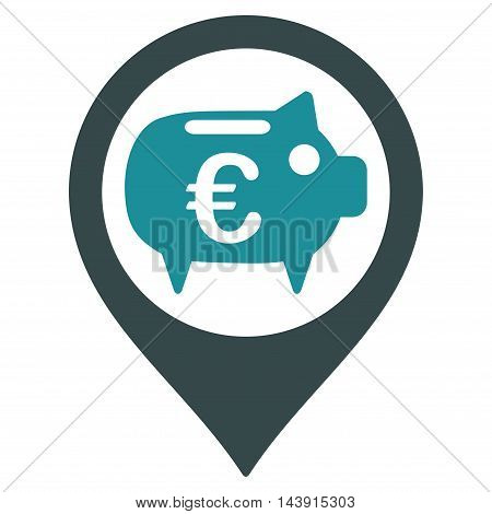Euro Bank Pointer icon. Vector style is bicolor flat iconic symbol with rounded angles, soft blue colors, white background.