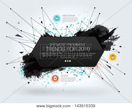 Geometric Polygonal Elements. 3D abstract background with paint stain and geometric shapes. Template with Icons and Options. Flyers posters. Scientific future technology background. Vector design layout for business presentations.