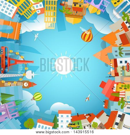 World famous signts silhouettes. Travel concept vector illustration