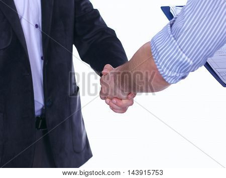 Businessmen shaking hands, isolated on white. Closeup