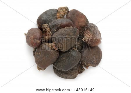 Organic dry Bhilawa (Semecarpus anacardium) seeds isolated on white background. Macro close up. Top view.